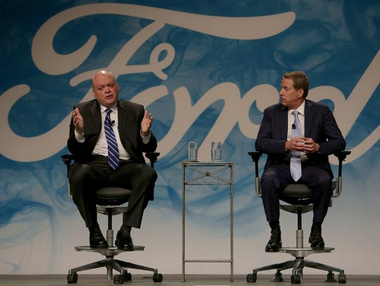 New Ford CEO Jim Hackett, left, and  Executive Chairman