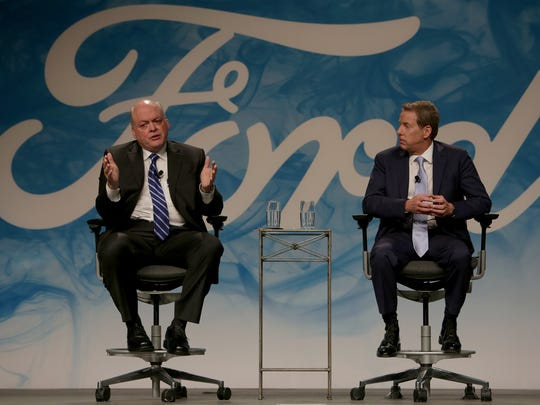 New Ford CEO Jim Hackett, left, and  Executive Chairman Bill Ford announce and discuss the company's management shake-up on Monday, May 22, 2017 at the Ford Motor Company World Headquarters in Dearborn.