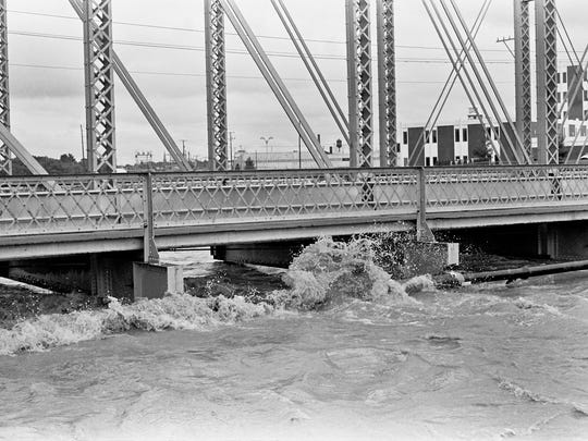 This photo shows how high the water rose in the city of York during Tropical Storm Agnes in June 1972.