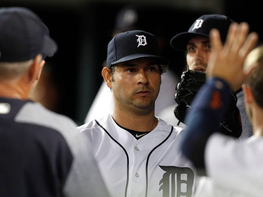 Tigers pitcher Anibal Sanchez (19) celebrates with teammates in the dugout during the sixth inning of the Tigers' 3-2 win over the White Sox on Friday, Sept. 15, 2017, at Comerica Park.