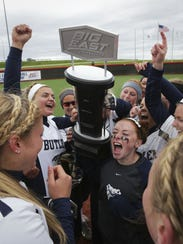 Butler players celebrate Big East softball championship.
