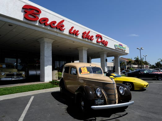 Back in the Day Classics in Carson, Calif., is located in a former Chrysler sales lot. It is part classic auto sales, part museum and part American memorabilia showroom.
