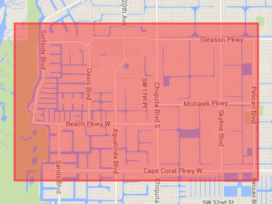 An EF-2 tornado ravaged Cape Coral about 7:30 p.m. Saturday, with the area shown the most devastated.