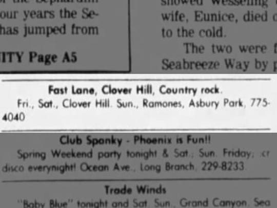 Here's an ad in the Asbury Park Press for the March 1979 Ramones show at the Fast Lane