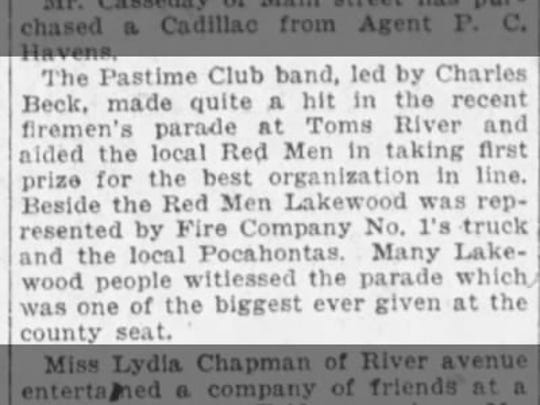 The first Toms River Halloween Parade, which took place in 1919, is mentioned in this Nov. 5, 1919 clipping from The Asbury Park Press.