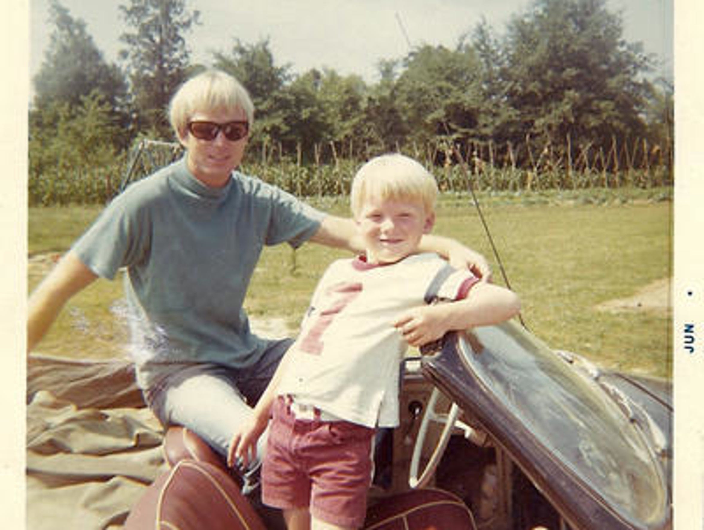 A late 1960s photograph of Felix Vail with his son,