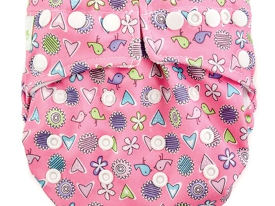 A cloth diaper with snaps, by Bumkins, is Earth-friendly and easy to use