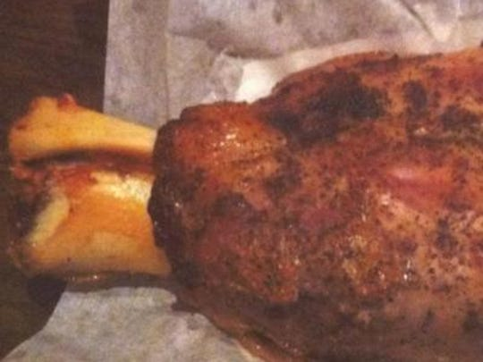 A pork shank that is Iowa raised and smoked to perfection