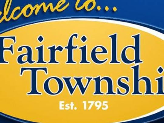 Welcome sign for Fairfield Township.