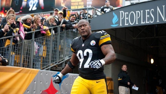 Pittsburgh Steelers linebacker James Harrison (92) is introduced to the crowd prior to their game against the Philadelphia Eagles at Heinz Field.