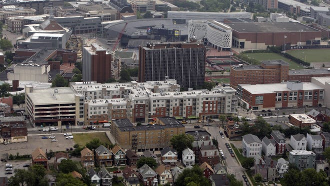 A 2014 aerial view of development along West McMillan Street just south of the University of Cincinnati campus. This view is looking north.