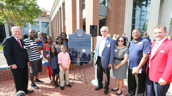 The dedication ceremony for Chucky Mullins Drive on Friday, Sept. 26, at the Law School Courtyard in Oxford, MS.