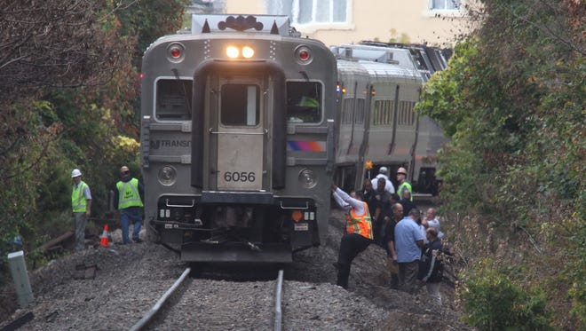 Safety personnel work the scene of a fatal train accident in Nanuet, N.Y. on Sept. 26.