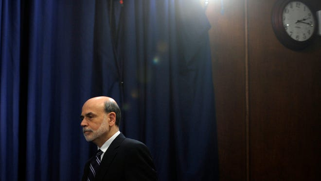 In this April 25, 2012, file photo, Federal Reserve Chairman Ben Bernanke arrives for a news conference at the Federal Reserve in Washington.