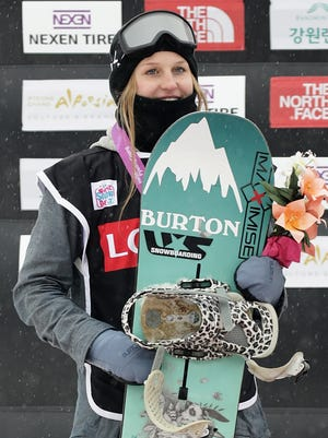 Julia Marino, here celebrating second place at the Ladies BA Finals in November, will also take home two medals from the X Games.