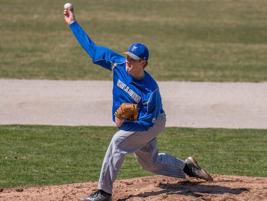 Kellogg Community College pitcher Matt Pearsall.