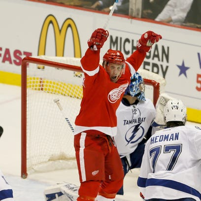 Detroit Red Wings' Justin Abdelkader celebrates a goal