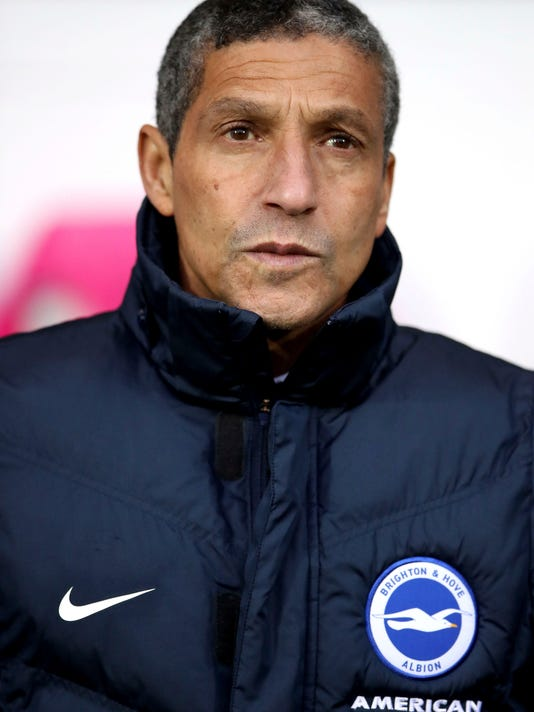 Brighton & Hove Albion manager Chris Hughton before the English Premier League soccer match against West Bromwich Albion at The Hawthorns, West Bromwich, England, Saturday Jan. 13, 2018. (Nick Potts/PA via AP)