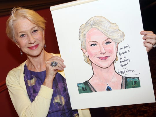 "NEW YORK, NY - MAY 12:  Dame Helen Mirren poses at her caricature unveiling honoring her performance in ""The Audience"" on Broadway at Sardis on May 12, 2015 in New York City.  (Photo by Bruce Glikas/FilmMagic) ORG XMIT: 553991801 ORIG FILE ID: 473110320"