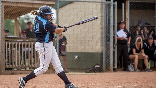Richmond's Erin Schuboy gets a hit during the postseason. .