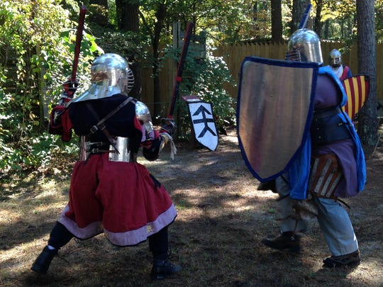 """Performers at the """"Swords of Chivalry"""" re-enactment at the 25th annual Celtic Festival at Furnace Town."""
