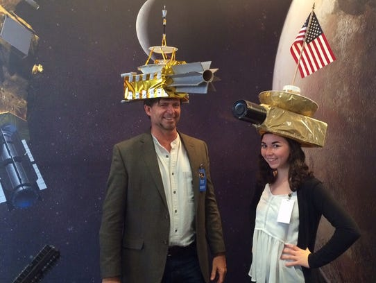 Philip Metzger and his daughter wear matching New Horizons