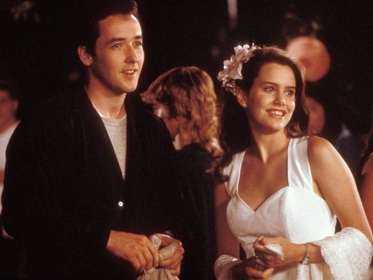"""Lloyd Dobler (John Cusack) takes Diane Court (Ione Skye) to a party for their first date in the 1989 romantic comedy """"Say Anything ... """""""