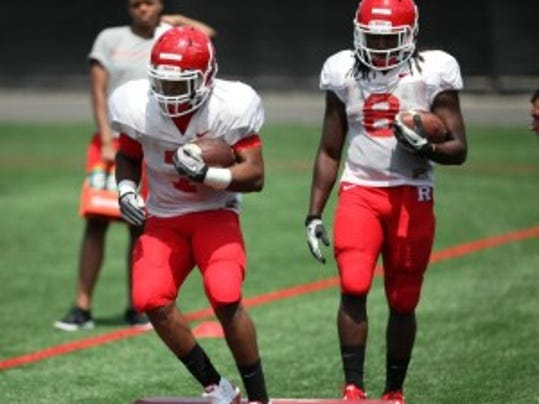 Rutgers freshmen halfbacks Robert Martin (7) and Josh Hicks (8) are options to return kickoffs in the season-opener. (Jason Towlen/MyCentralJersey.com)