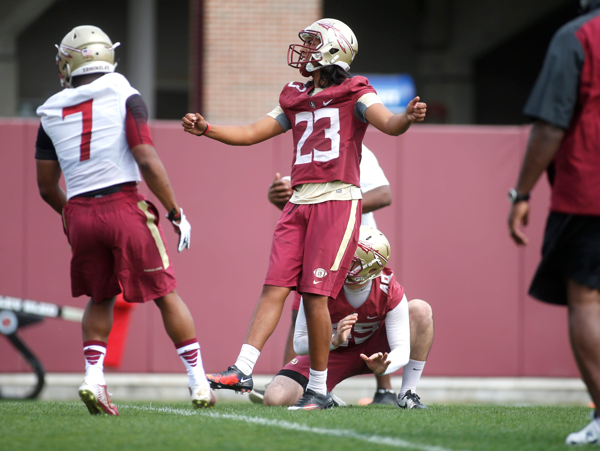 FSU's Ricky Aguayo works out during the first day of