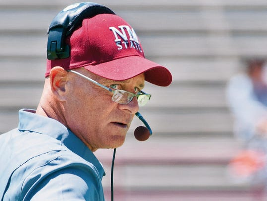 Gary Mook/For the Las Cruces Sun-News   New Mexico State head football coach Doug Martin begins his third season today in the Aggies first official practice of the 2015 season.