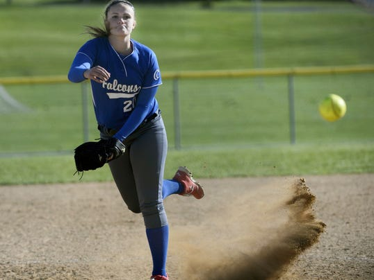 Cedar Crest's Maddie Gable delivers a pitch during her 12-inning compete game in Friday's 3-2 extra-inning loss to Hempfield.