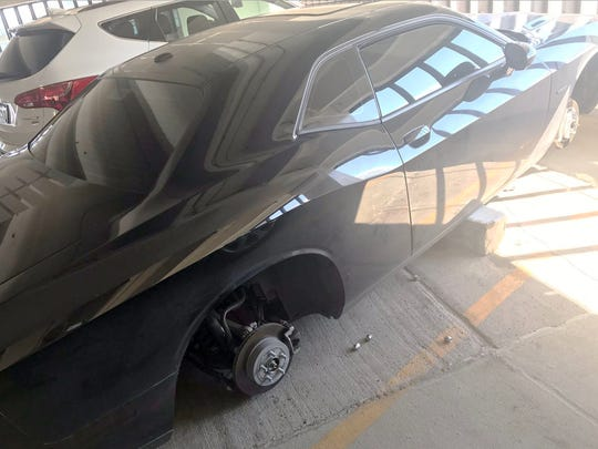The wheels and tires were stolen from Abdullah Alkeilani's 2017 Dodge Challenger R/T on July 24, 2017. It was parked in a downtown Detroit parking garage.
