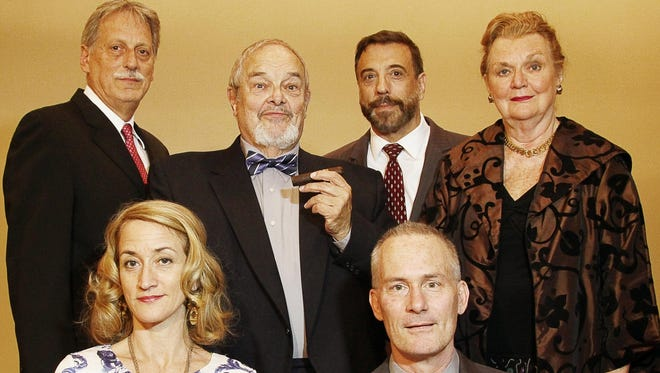 """The cast of the Southern Tier Actors Read production of """"The Best Man"""" includes, bottom left to right, Heidi Weeks and Andy Horowitz; top left to right, Nick DeLucia, Claus Evans, Mark Roth and Judy McMahon."""