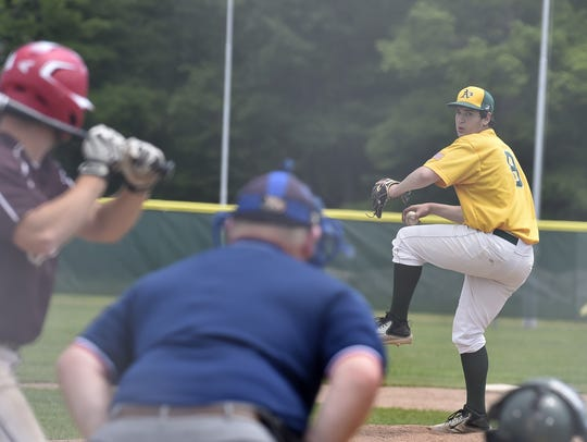 Daniel Case of Baileys Harbor pitches against West