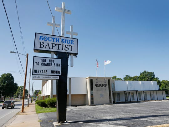 The sign outside of of the South Side Baptist Church