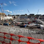 Overall view of the construction site for the new Detroit Red Wings arena on Woodward Ave, north of I-75  in Detroit, Thursday, Oct. 1, 2015.