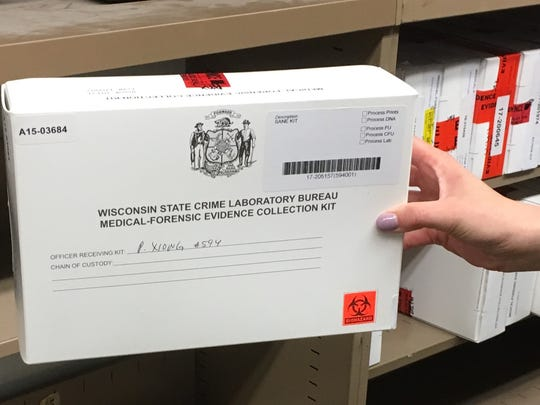 A close-up view of a Green Bay Police Department rape kit, which is marked with the name of the officer assigned to the case.