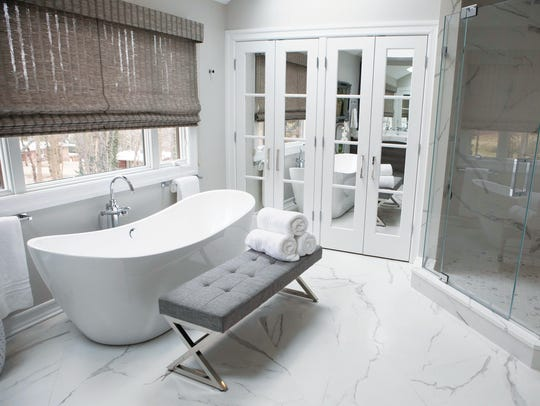 Master bathroom in Upper Saddle River designed by Antonella