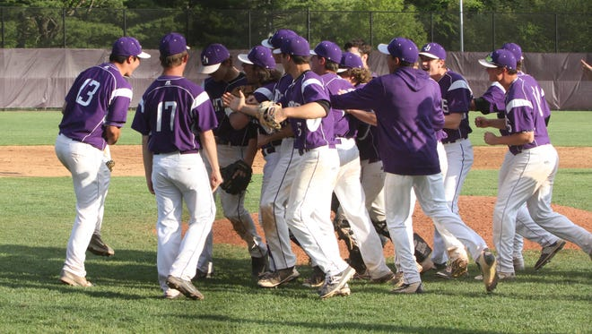 Host John Jay celebrated its 4-3 win over Byram Hills in the Class A baseball quarterfinals on Monday.
