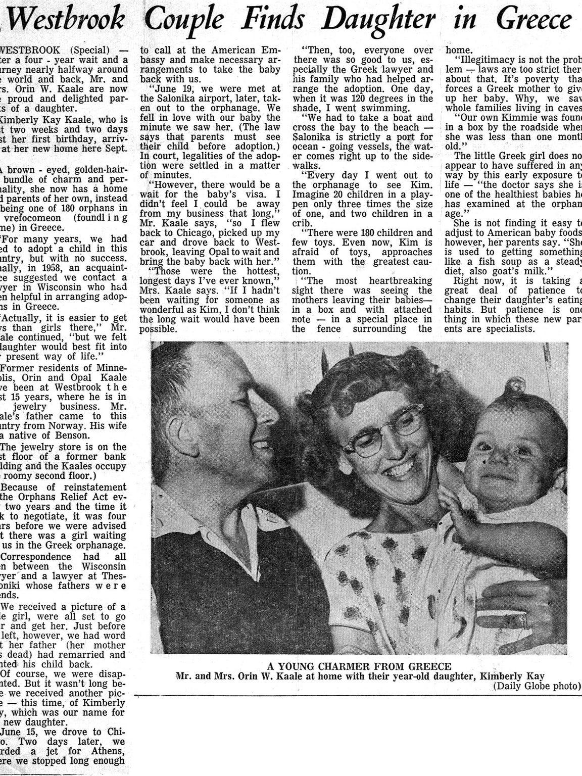 The Worthington Daily Globe did a story on Kim's adoption