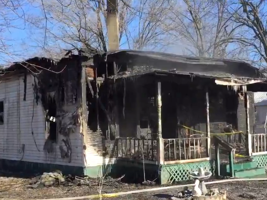 The aftermath of a house fire in Bolivar.