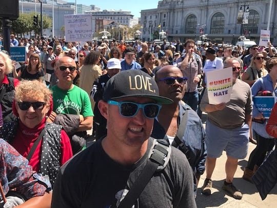 Crowd at San Francisco City Hall for a rally for nov in advance of a proposed conservative Free Speech rally Saturday.