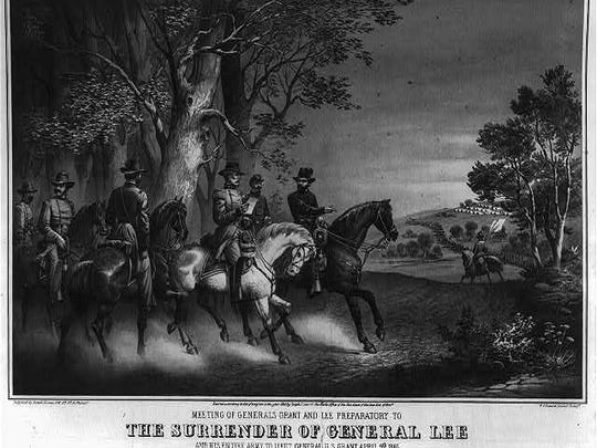 Meeting of generals Grant and Lee preparatory to the