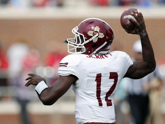New Mexico State quarterback Nick Jeanty made his first career start against Mississippi.