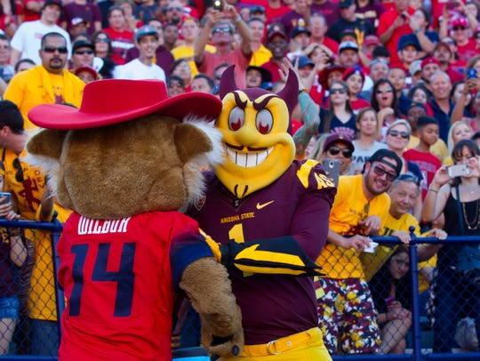 Wilbur and Sparky 'wrestle' during the second half