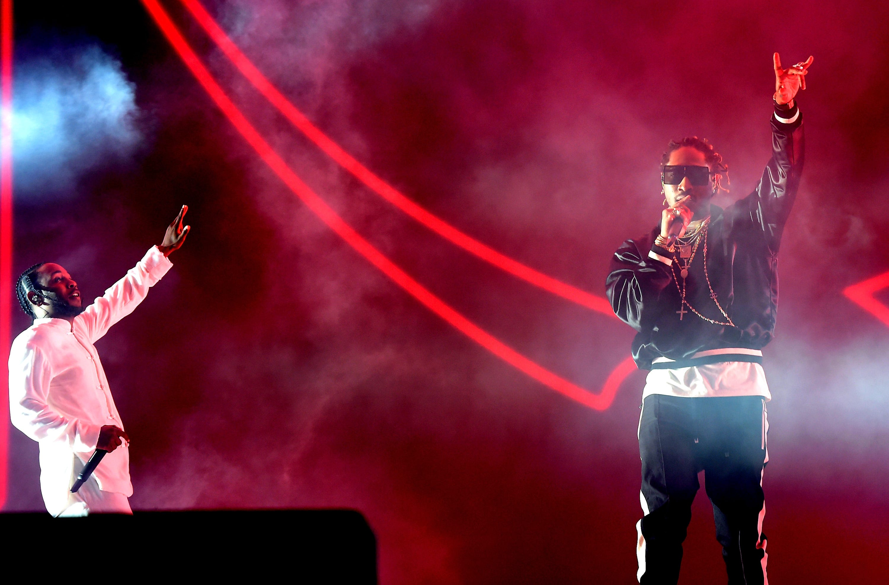 Kendrick Lamar (left) And Future Perform On The Coachella Stage During Day  3 Of The Coachella Valley Music And Arts Festival April 16, 2017 In Indio,  ...