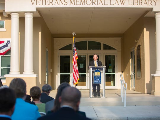 Kevin Cieply, president and dean of Ave Maria School of Law, spoke about what it means to be a veteran at the Veterans Memorial Law Library dedication ceremony Dec. 7, 2016.