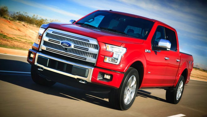 """The grille of the 2015 Ford F-150. Ford says the overwhelming grille is needed to give hard-working truck engines enough cooling air and to look """"tough."""""""