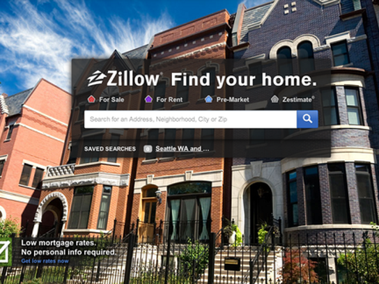 Zillow homepage screenshot with homes in the background