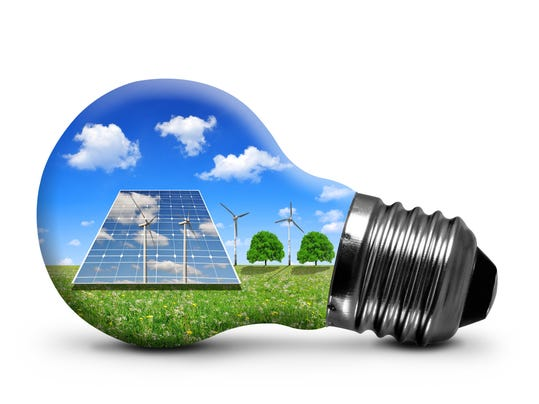 Bulb with solar panel and wind turbines